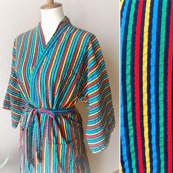 ae28471827 True Vintage🌈Rainbow Striped Robe! M 5ae22d70a44dbe37ef222761
